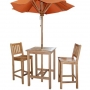 set 26 -- balboa bar chairs, 27 inch square bar table & 6 foot umbrella